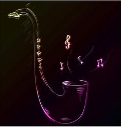 Saxophone glowing sketch vector image