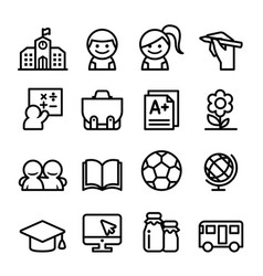 school icon set thin line icon vector image