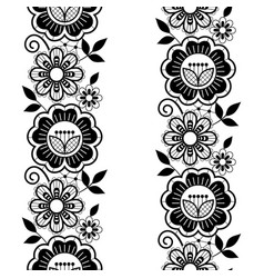 Seamless lace vertivcal long pattern set vector