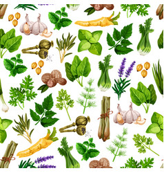 Seamless pattern of spice herb seasonings vector