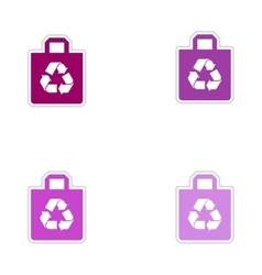 Set of paper stickers on white background eco pack vector