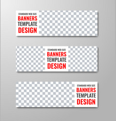 set of white web banners with place for photo and vector image