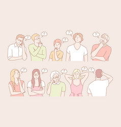 set thinking people concept vector image