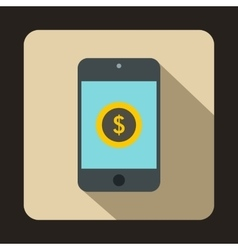 Smartphone with dollar sign on display icon vector image