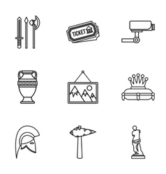 Stay in museum icons set outline style vector image