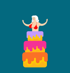 Striptease girl from cake congratulation vector