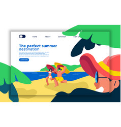 summer beach vacation landing page template vector image