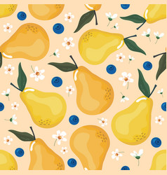 summer seamless pattern with pears and blossom vector image