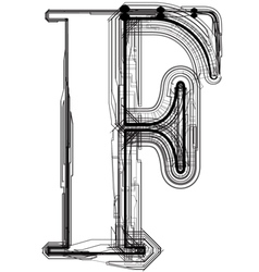 Technical typography Letter F vector image