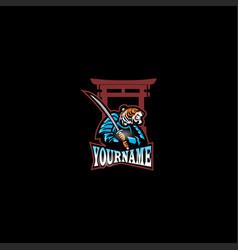 Tiger samurai logo design esport vector
