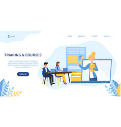 Training and courses theme with online teacher vector