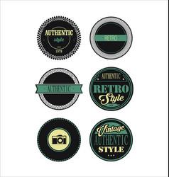 vintage labels black and green set 3 vector image