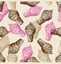 vintage seamless patterns with ice cream vector image