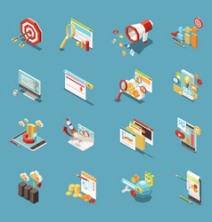 web seo isometric icon set vector image