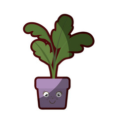 White background with caricature of beet plant in vector