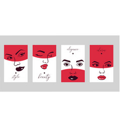 woman face set cards banners vector image