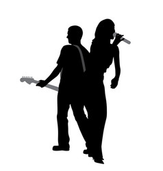 woman singer and man guitar player vector image