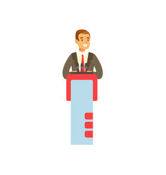 young businessman speaking behind the podium vector image