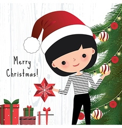 Young woman decorating the christmas tree vector