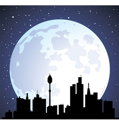 Building silhouettes and moon vector