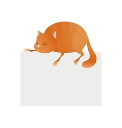 Cute cat sleeping on blank platform Enjoying life vector image vector image