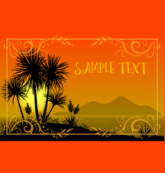 Palms floral pattern and sea landscape vector