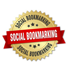 Social bookmarking round isolated gold badge vector