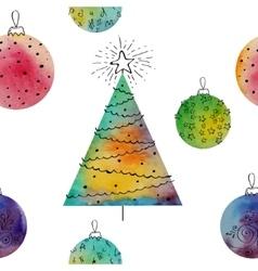 watercolor balls and christmas tree vector image vector image