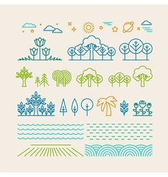 linear landscape icons vector image vector image