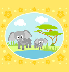 safari background card with elephants vector image