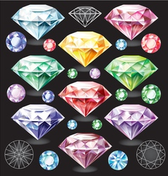 Set of Diamonds of different colors vector image
