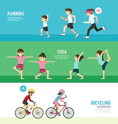 sports design health concept people exercise set vector image
