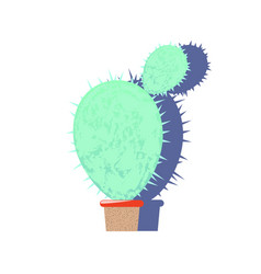 textured cactus flat on white vector image vector image