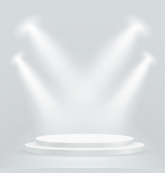 bright podium with projectors layout vector image vector image