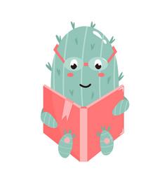 cute cactus reading a book vector image