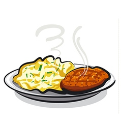 cutlet with potato vector image vector image