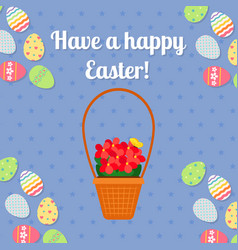Happy easter blue card with eggs vector