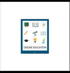 online education flat icon set e-learning vector image