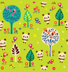 panda bears in forest seamless pattern vector image