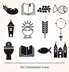 Set communion catholic icons vector image