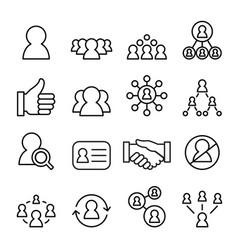 social network icon set line icon vector image vector image