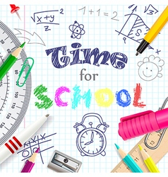 Time for school creative background vector image vector image