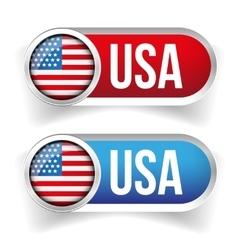 USA flag button set vector image vector image