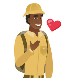 African-american traveler holding hand on chest vector