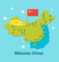 cartoon travel china welcome card poster tourism vector image vector image
