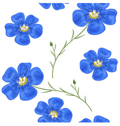 Flax blue flowers with stem seamless pattern vector