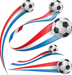 france and Netherlands flag set with soccer ball vector image