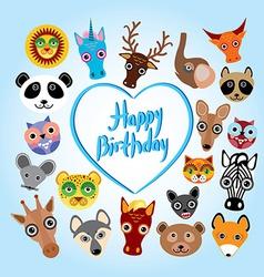 Happy birthday card funny cute animal face vector image vector image