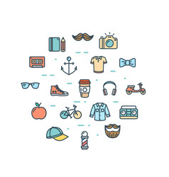 hipster icon round design template thin line set vector image