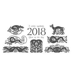 set of celtic symbols of dogs design elements in vector image vector image